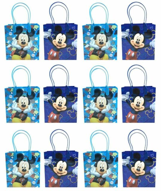 12x Disney Blue Mickey Mouse Kid S Party Loot Bags Birthday Goody