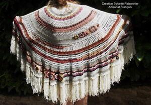 Chale Crochet Main Creation Sylvette Raisonnier Artisanat Francais * 100% De MatéRiaux De Haute Qualité
