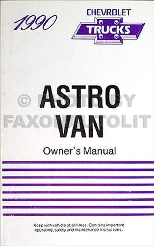 1990 Chevrolet Astro Van Owners Manual 90 Chevy Owner