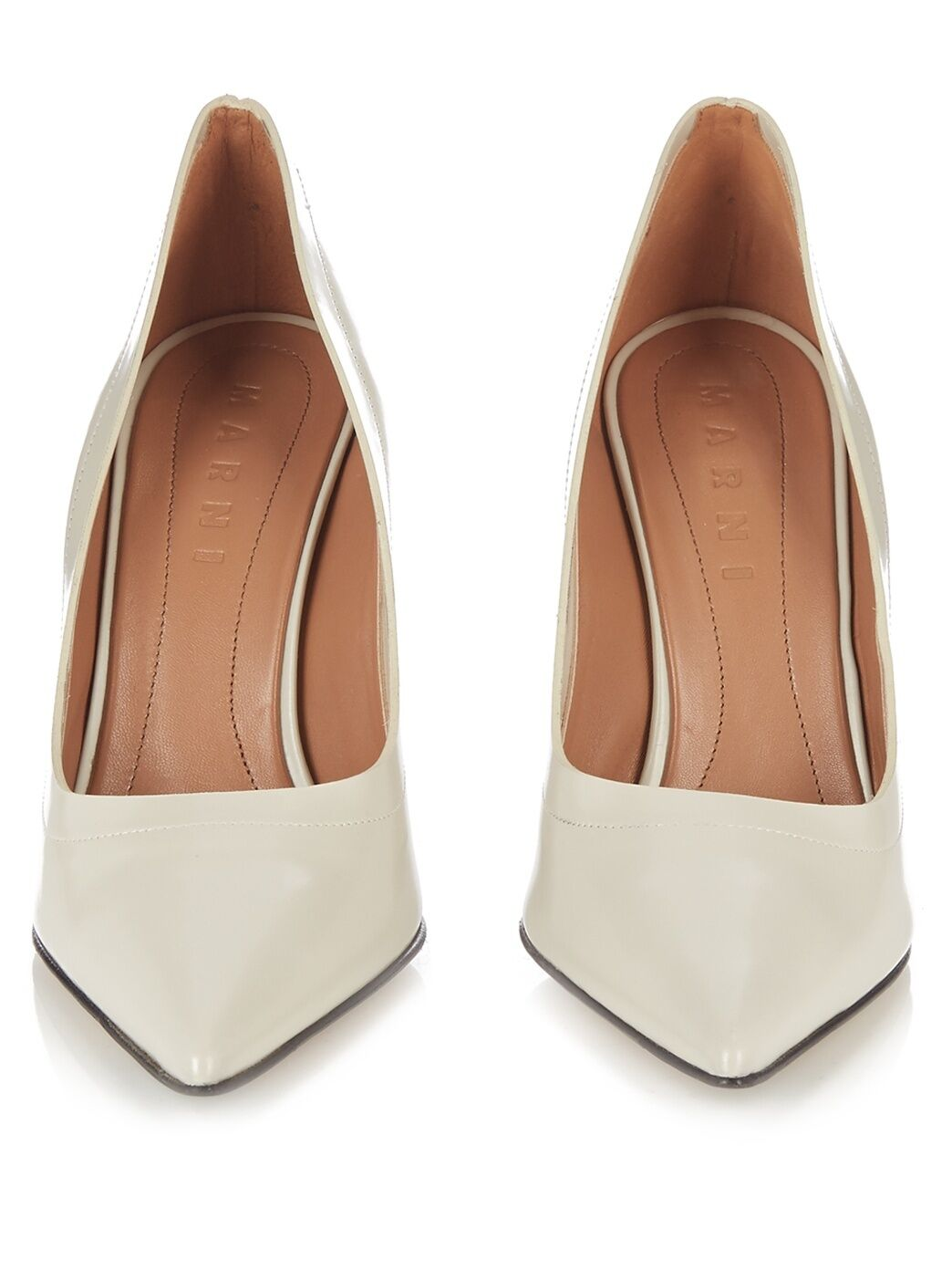 1390 Marni Sculpted Heel Ivory Leather Pump Pointy Pointy Pointy Toe schuhe 39.5- 8.5 6aad79