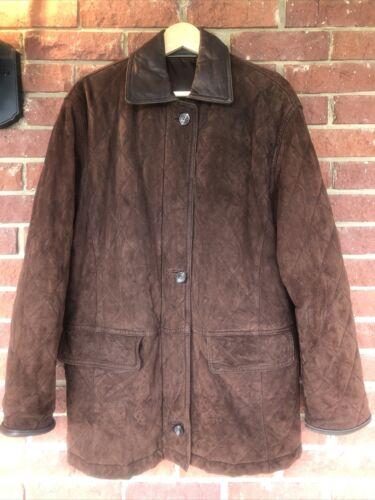 Vintage coat sz M L C&A Canda brown suede leather