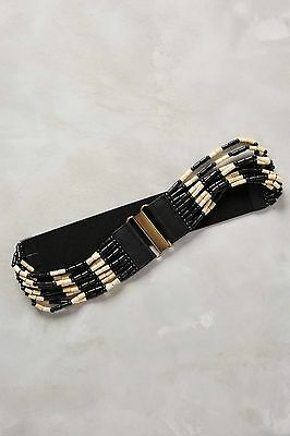NWT ANTHROPOLOGIE Bois Wood Beaded Leather Tabs Black Stretch Belt Size M $58