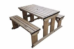 Superb Details About Hand Made Wooden Pub Garden Table Picnic With Attached Benches 4Ft To 8Ft Beatyapartments Chair Design Images Beatyapartmentscom