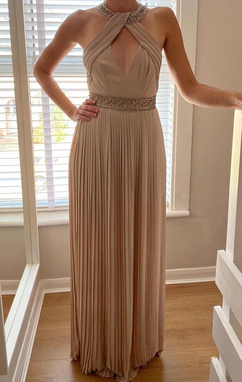TFNC ASOS Embellished Halter Neck Pink Backless Pleated Maxi Bridesmaids Dress 6
