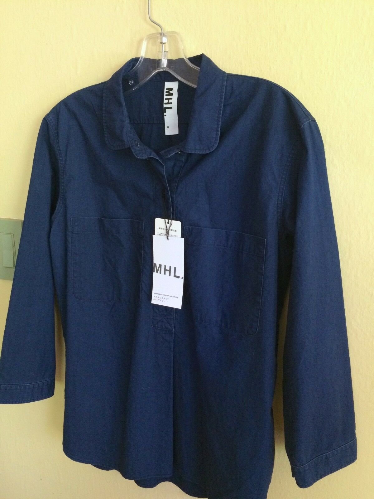 NWT  MARGARET HOWELL MHL INDIGO DENIM CANVAS POPOVER SHIRT S