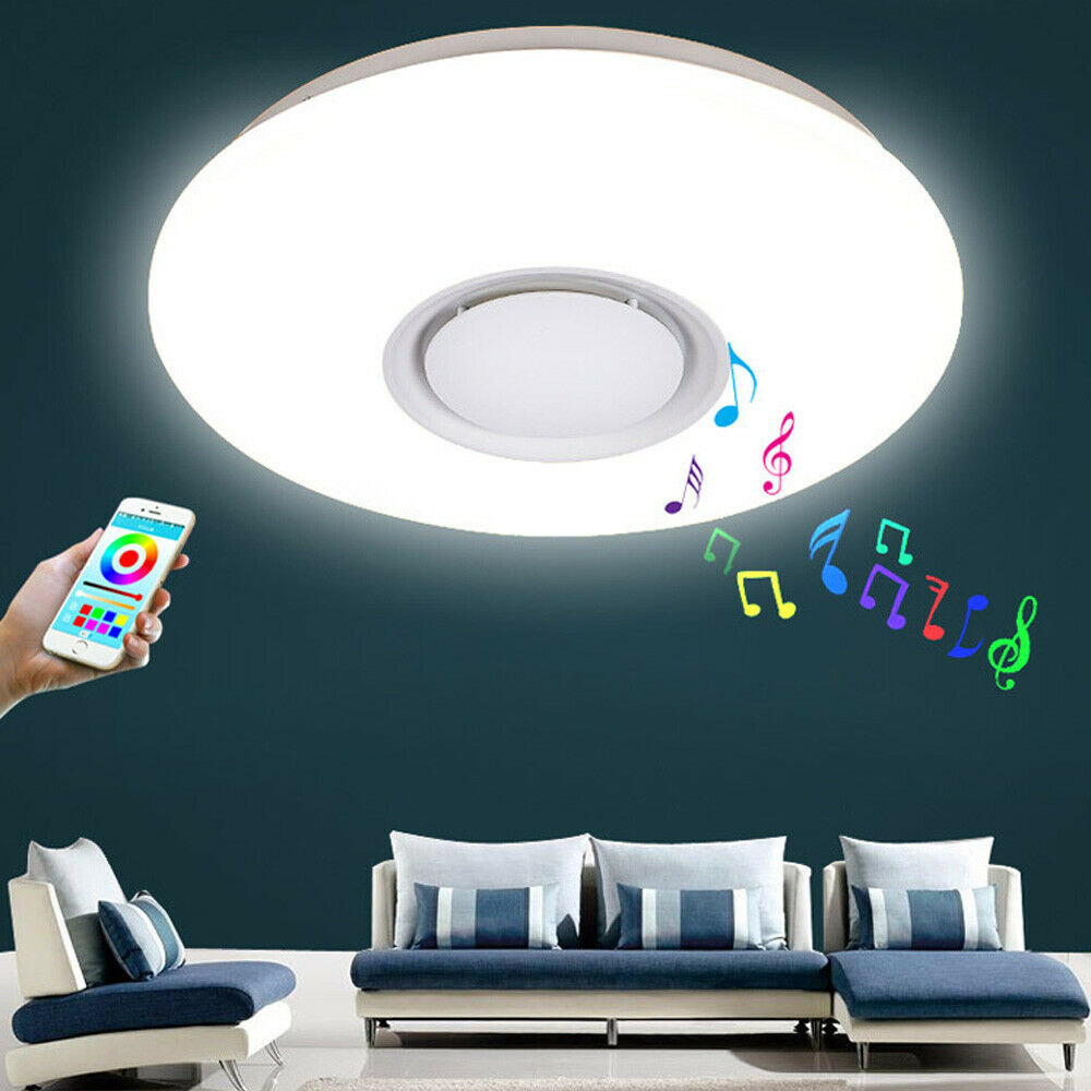 Neu 24W LED Dimmbar Blautooth Lautsprecher Deckenleuchte Aryclisch Lampen DHL