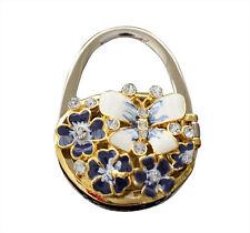 Bolso de mano cartera Holder, de Acero Inoxidable Gancho, mariposa y flor azul