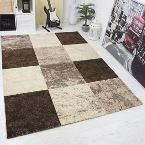 ... Moderne Design Tapis Salon A Carreaux Mouchete Contours