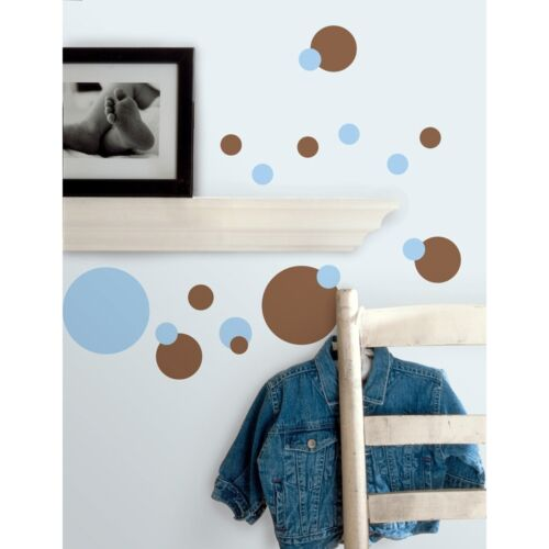 Blue and Brown Polka Dot Decals Baby Nursery Room Decor Just Dots Wall Stickers