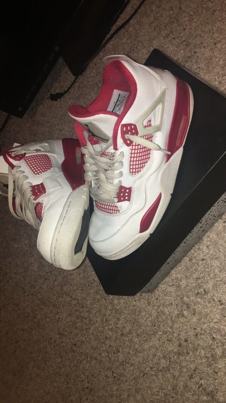 Nike Air JORDAN 4 RETRO Men Size 9.5 Alternate 89 White Black Gym Red 308497 106