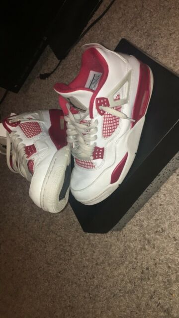 608ba80c20d8 Nike Air JORDAN 4 RETRO Men Size 9.5 Alternate 89 White Black Gym Red  308497 106