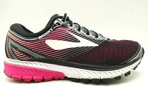 Brooks-Ghost-10-Black-Pink-Knit-Lace-Up-Athletic-Running-Shoes-Women-039-s-6-5-D