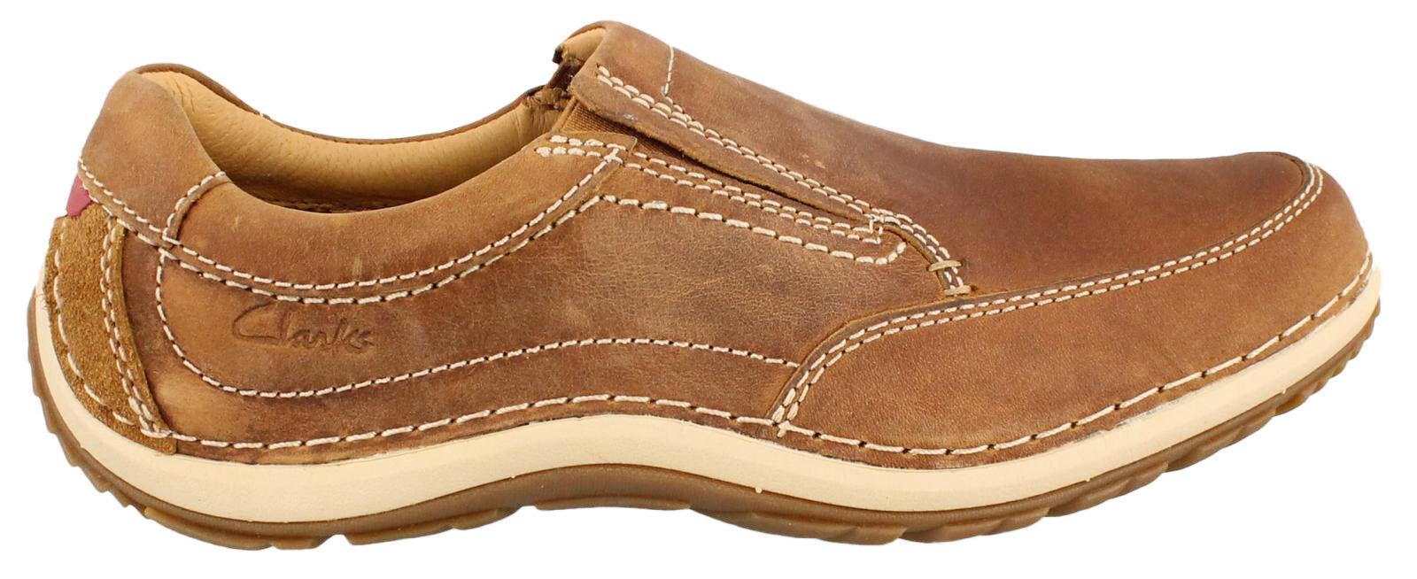 Clarks Slip   Herren Shiply Step Braun Leder Slip Clarks On Casual Schuhes Loafers, UK 7 - 10 202b5f