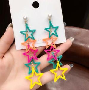 Women-Coloured-Star-Drop-Dangle-Stud-Long-Ear-Studs-Acrylic-Earrings-Jewelry