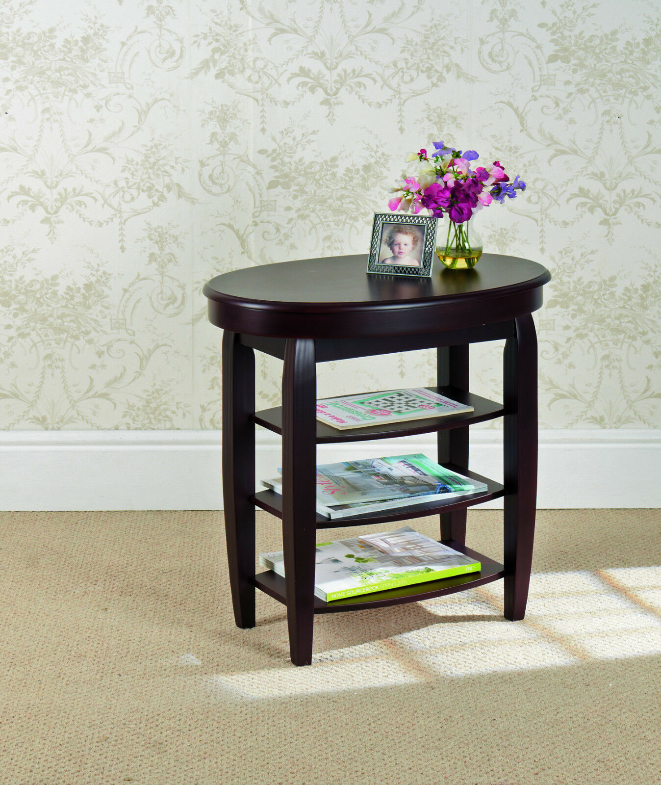 Side Table Swivel Top Mahogany Finish Tea Magazine Shelf Storage Drink Cup For Sale Online Ebay
