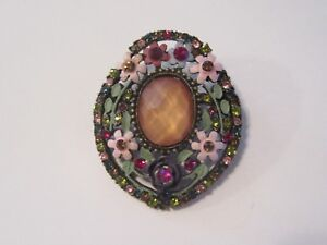 Vintage-Pin-Brooch-Faceted-Glass-Cab-and-Flowers-in-Mint-Condition