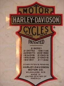 HARLEY-DAVIDSON-VINTAGE-PATENT-PATENTED-SMALL-DECAL-INSIDE-2-X-1-25-NEW