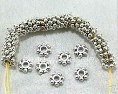 !! 150pcs Antique Silver/Gold/Bronze/Copper Alloy Flower Shaped Spacer Beads 4mm