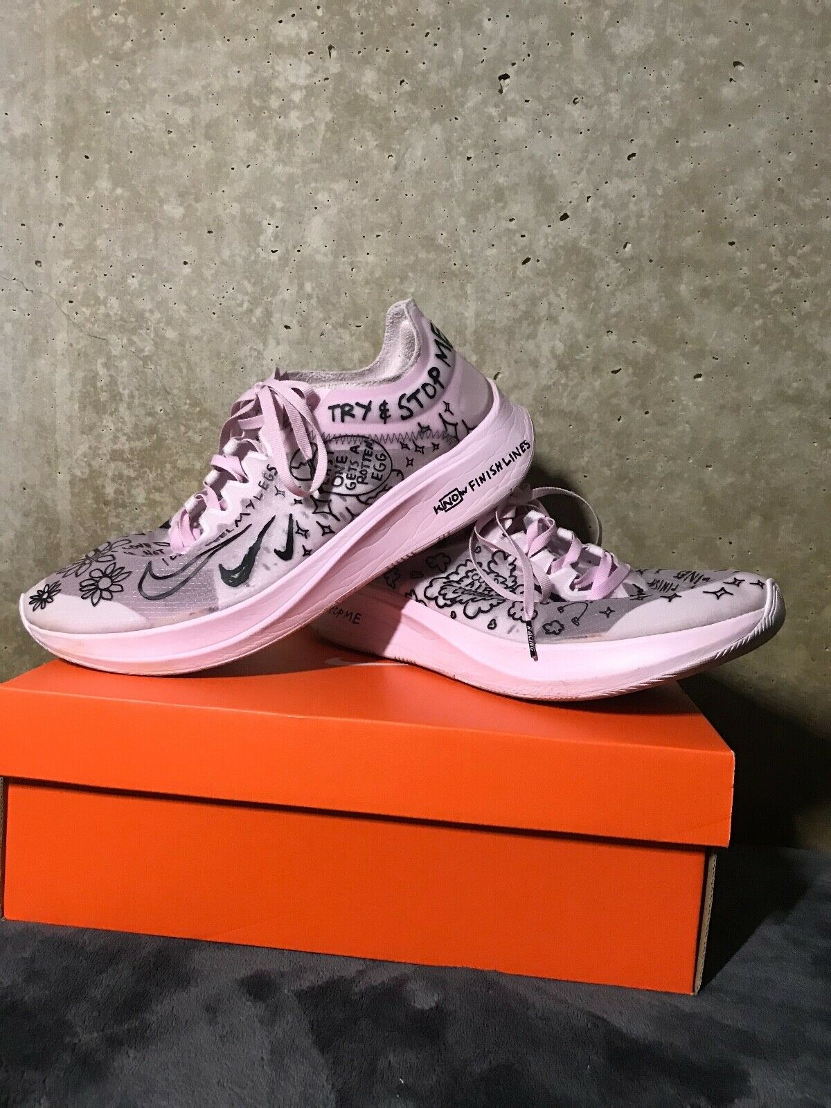 Nike Zoom Fly SP Fast Nathan Bell  White Pink Black   Men's Size 12