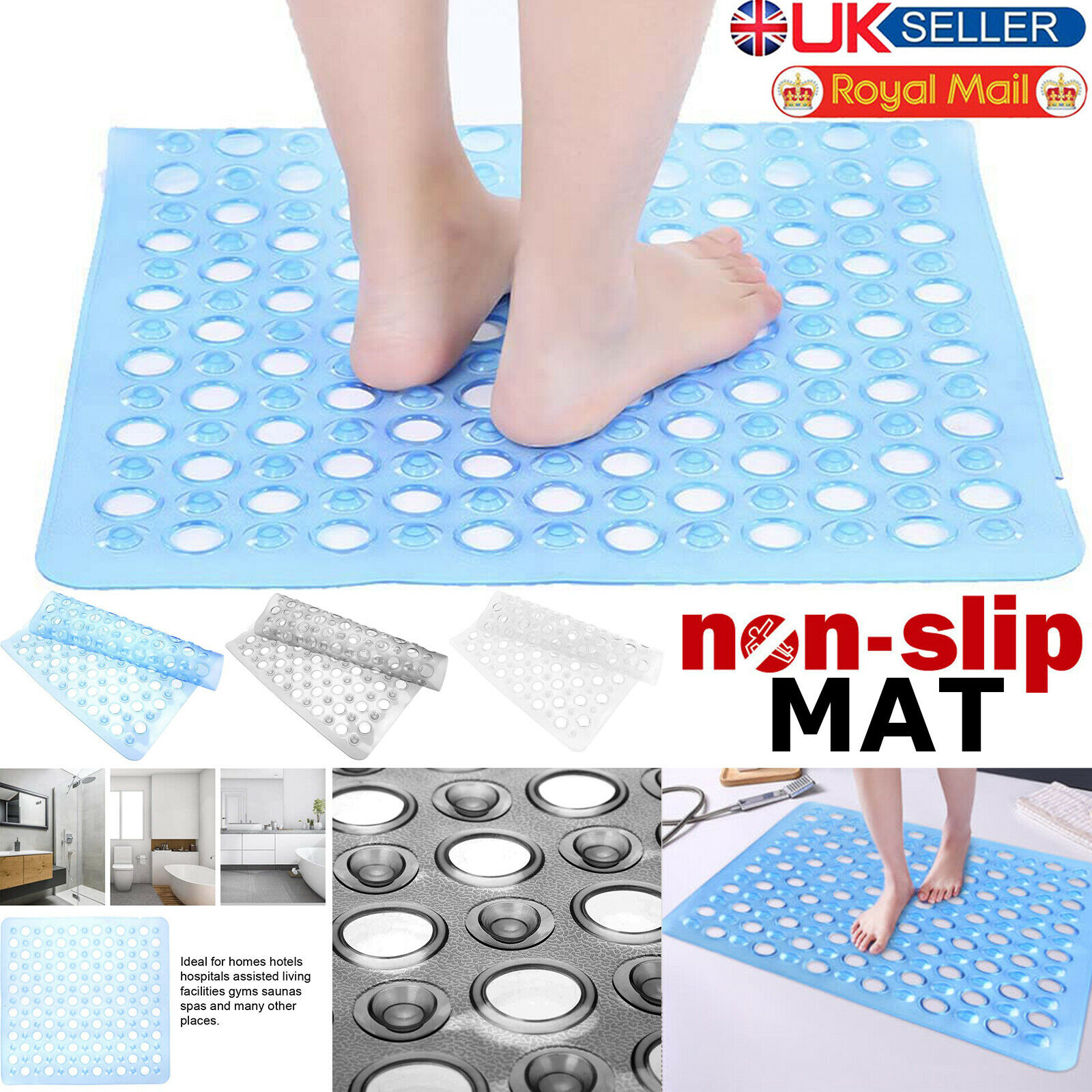 CLEAR ANTI NON SLIP STRONG SUCTION QUALITY BATH SHOWER MAT FREE UK DELIVERY