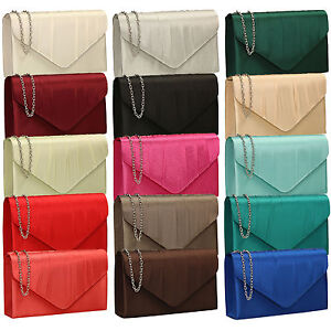New-Women-Pleated-Satin-Envelope-Clutch-Bridal-Party-Prom-Ladies-Evening-Bags-UK