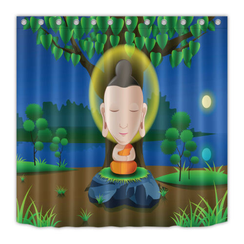 "60//72/"" Buddha Zen Moon Night Waterproof Fabric Bathroom Shower Curtain /&Hook"