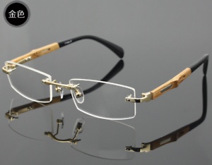 74423f861b15 Image is loading Bamboo-temple-Eyeglasses-Rimless-Optical-RX-Glasses-Frame-