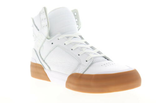 Supra Skytop 77 06578-151-M Mens White Leather Lace Up Athletic Skate Shoes