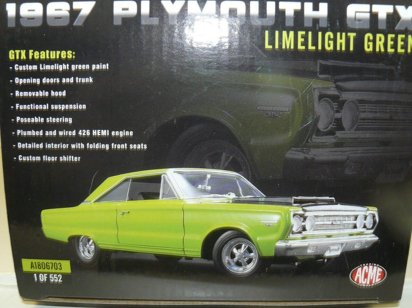 in linea 1 18, 1967 Plymouth GTX, Limelight verde verde verde ,  279 of 552 , the master cylinder  fantastica qualità