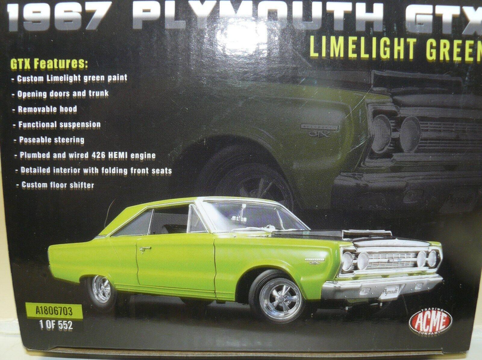 bienvenido a elegir 1 18, 1967 Plymouth Gtx, Limelight Limelight Limelight verde,  279 de 552, el cilindro maestro  estar en gran demanda