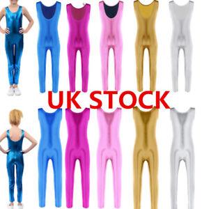 Kid Girl Shiny Jumpsuit Gymnastics Ballet Leotard Bodysuit Dancewear Costume UK