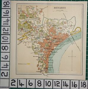 ANTIQUE INDIA MAP BENARES CITY PLAN CANTONMENT POST OFFICE PARKS