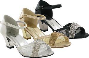 6c8c9a3ece new ladies women block low heel stone and net diamante open toe ...