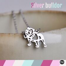 FREE GIFT BAG Silver Plated British Bulldog Origami Necklace Cute Puppy Dog