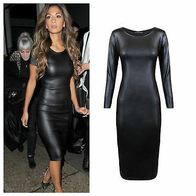 Womens Celebrity Inspired Wet Look Pu Mini Bodycon Ladies Faux Leather Dress