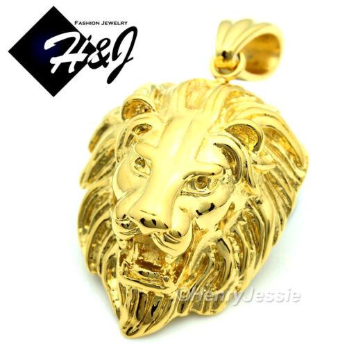 "18-40/""MEN Stainless Steel 6mm Gold Cuban Curb Chain Necklace LION Pendant*GP50"