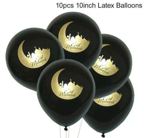 10 BLACK EID MUBARAK BALLOONS-GOLD-RAMADAN//MUSLIM CELEBRATION//PARTY-10 INCH