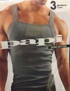 858a18a0d4d7f1 Papi Men s Square Neck Tank Top Pure Cotton 3-Pack Multi Color Sizes ...