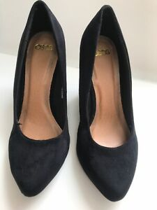 Ladies ASOS Black Suede Patent Leather Size 3 Wedge Heels Casual Occasion