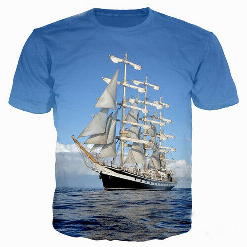 Femmes T-shirt Hommes 3D Imprimé à manches courtes Tee Tops Vagues de l/'eau de mer bateau Head