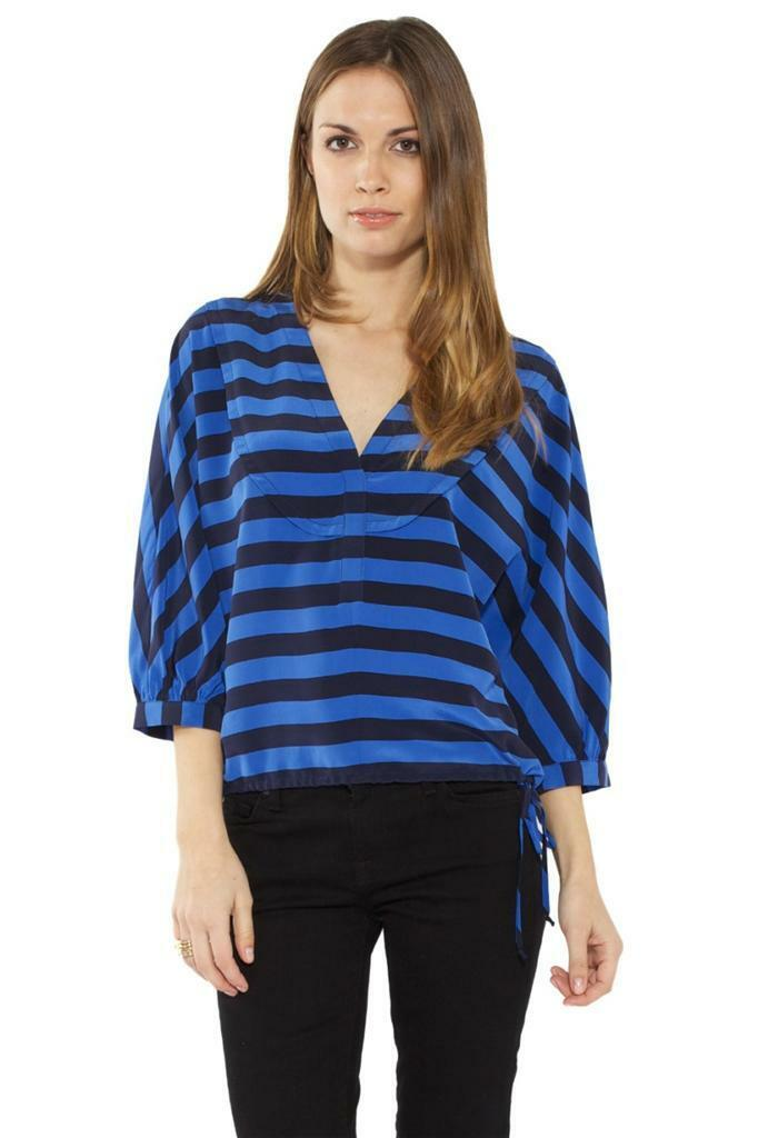 BCBG Hali Blouse Larkspur Blau schwarz Comb Drawstring 100% Silk Boxy Top Striped