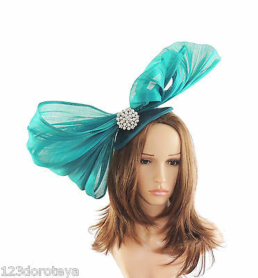 Peacock Green Fascinator  Hat for Weddings Proms With Headband D3 Ascot