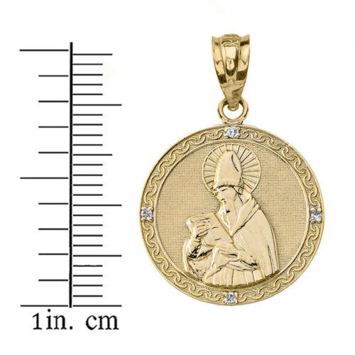 Details about  /Solid 10k Yellow Gold Diamond Engravable Saint Augustine Circle Pendant Necklace