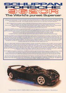 Details about Schuppan Porsche 962 CR Supercar Brochure , Porsche 956 ,  Early 90\u0027s