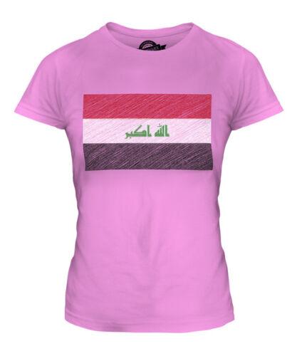 """L/'Irak Scribble Drapeau Femmes T-shirt Tee Top Cadeau Al /""""l/' Irak îraq"""