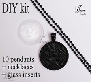 "10 x DIY round black pendant kit 1"" pendant tray bezel glass cabochon chain"