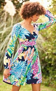 088a4892f65bc4 $188 NEW Lilly Pulitzer FLEUR DRESS Resort Navy Travelers Palm Pink ...