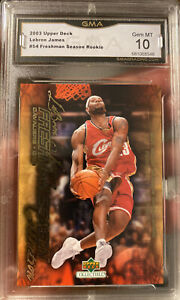 LeBRON-JAMES-Rookie-card-Freshman-Season-54-2003-2004-upper-deck-GEM-Mint-10