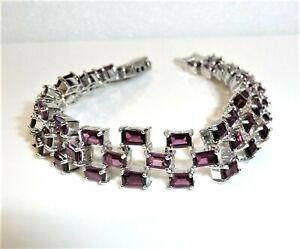 Bracelet 3-reihig 925 Argent Avec 10 CT Rhodolithe 18,5 CM Longueur 27 G Neuf