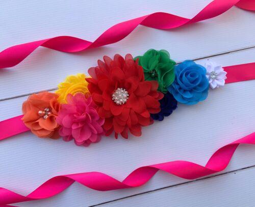 Rainbow Maternity Sash Belt Vintage Belt//Baby Shower Sash Flower Girl Sash